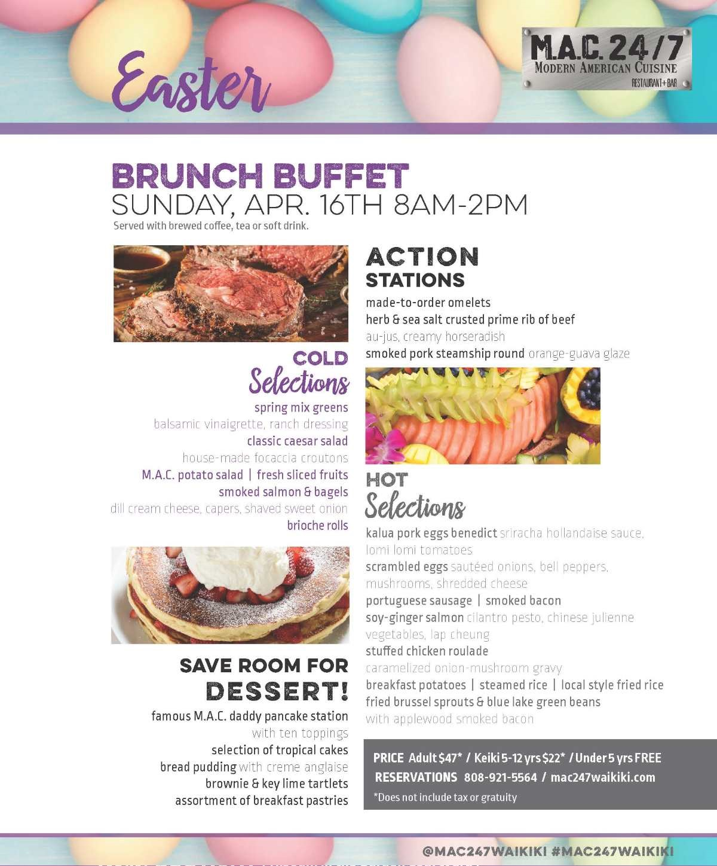 Waikiki easter buffet m a c 24 7 waikiki restaurant for Easter brunch restaurant menus
