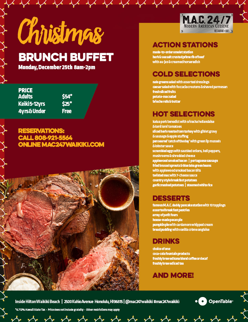christmas brunch menu mac 247 restaurant bar