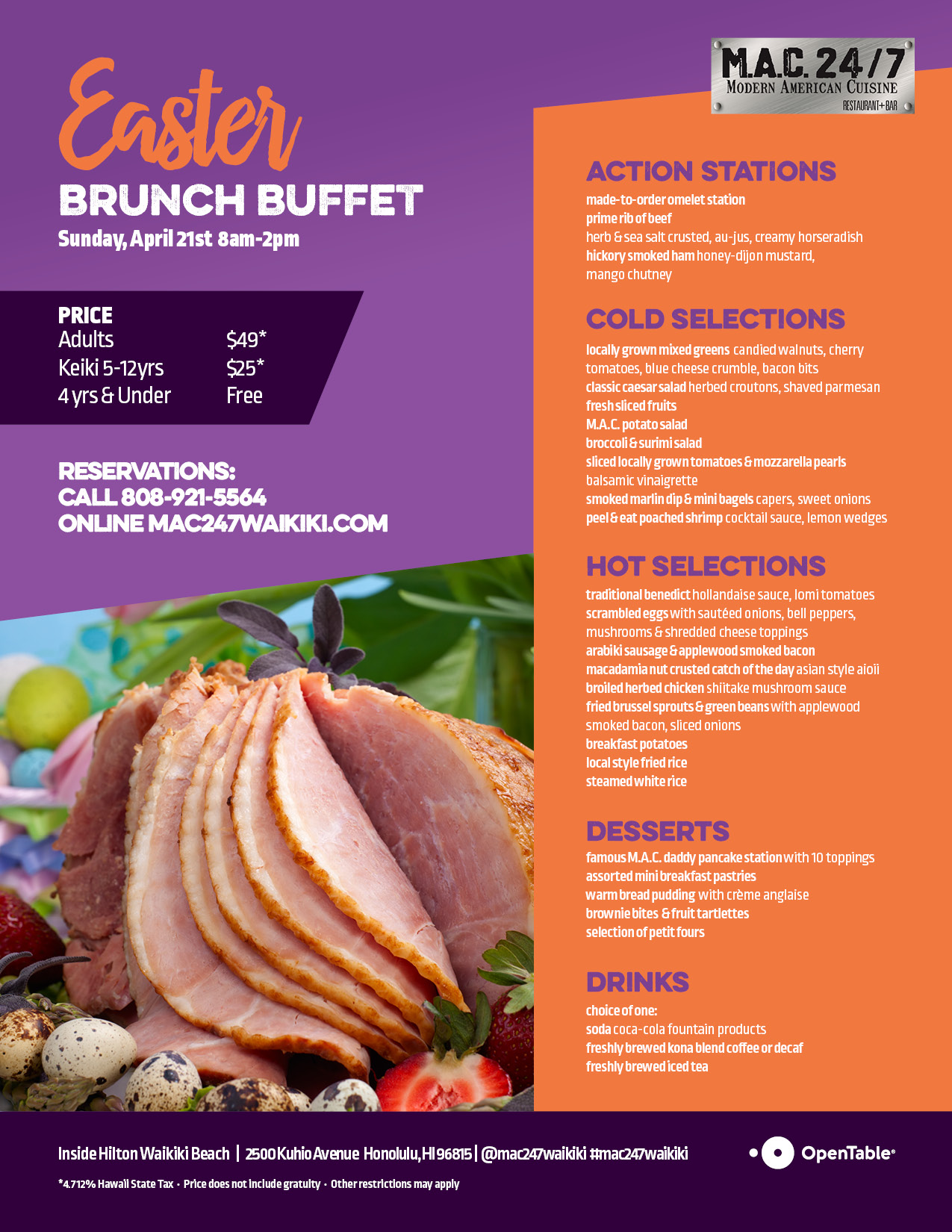 M.A.C. 247 Easter Brunch Menu 2019 WEB