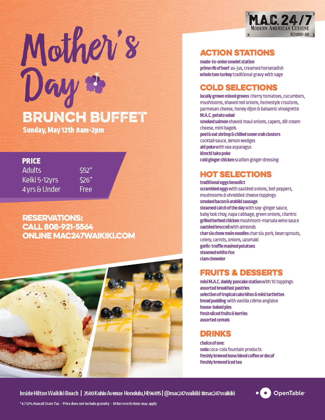 M.A.C. 247 Mother's Day Brunch Menu 2019 FOR WEB