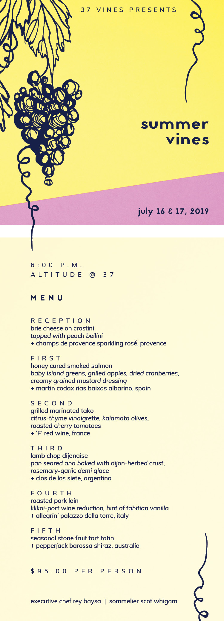 37 Vines Summer Vines Menu