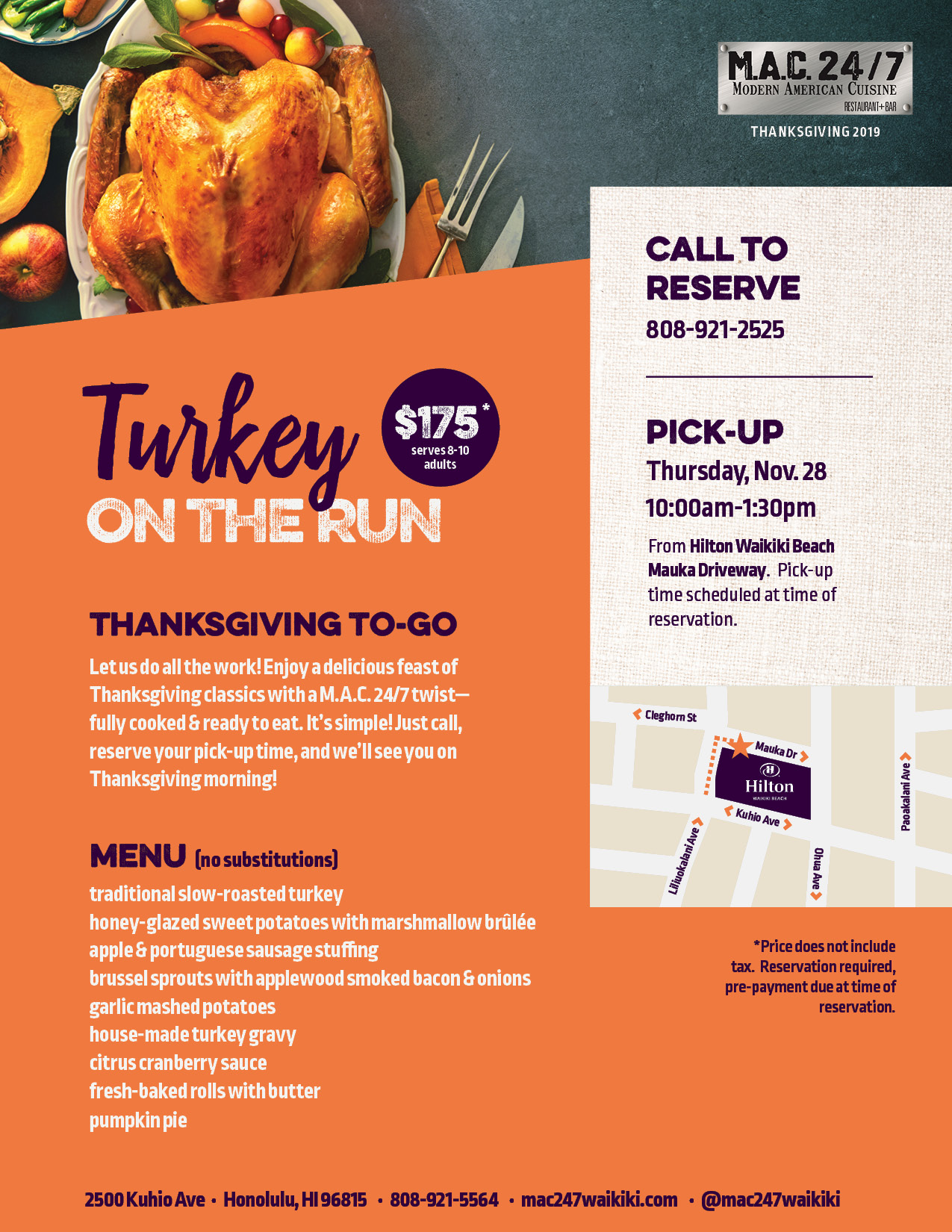 Turkey on the Run Thanksgiving To Go Menu at M.A.C. 24/7